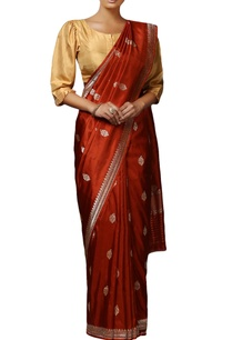 rust-mulberry-silk-handwoven-butidaar-saree-with-blouse-piece