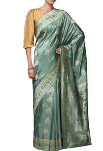 teal-blue-mulberry-silk-brocade-sari-with-blouse-piece