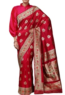 deep-pink-mulberry-silk-brocade-sari-with-blouse-piece