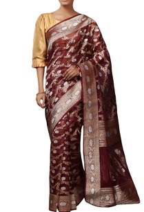 bordeaux-mulberry-silk-brocade-sari-with-blouse-piece