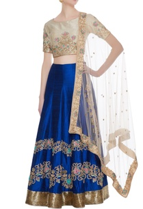 blue-pure-raw-silk-cutdana-stonework-embroidered-lehenga-set