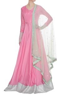 bubblegum-pink-art-silk-flared-anarkali-with-net-dupatta