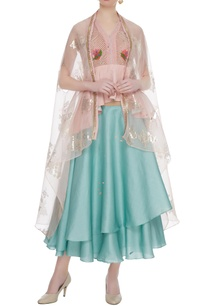 pastel-blue-dupion-crepe-layered-skirt-with-blouse-cape