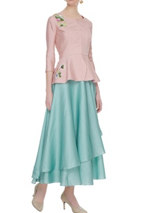 pastel-blue-layered-skirt-with-peplum-blouse-cancan-underlayer