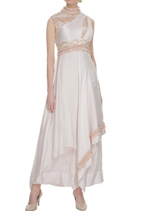 dusty-pink-one-shoulder-cotton-satin-cocktail-gown