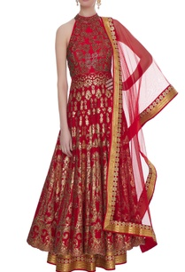 red-summer-silk-print-with-zircon-floor-length-anarkali-with-dupatta