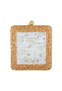 white-mother-of-pearl-gold-mesh-square-clutch
