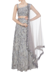 silver-hand-embroidered-tulle-net-lehenga-with-blouse-cutdana-dupatta