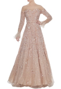 champagne-sequin-embellished-tulle-net-gown