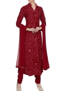red-sequin-kurta-with-churidar-and-dupatta