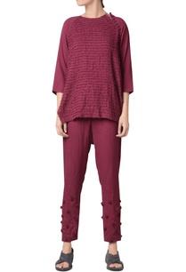 wine-viscose-slub-machine-striped-embroidered-raglan-blouse
