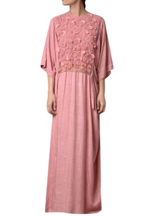 quartz-pink-viscose-slub-embroidered-maxi-dress