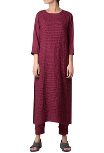 wine-viscose-slub-hand-machine-striped-embroidered-long-tunic