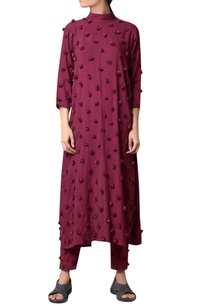 wine-viscose-slub-machine-pompom-embroidered-long-tunic