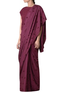 wine-viscose-slub-machine-pompom-embroidered-saree
