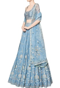 blue-nousha-chanderi-silk-blouse-with-chanderi-mullmull-lehenga-organza-dupatta