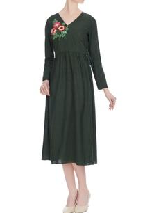 dark-green-khadi-hand-work-floral-angrakha-dress