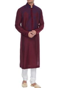 maroon-spun-silk-kurta-with-resham-embroidered-yoke-churidar