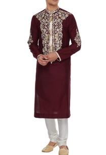 maroon-spun-silk-resham-embroidered-kurta-churidar