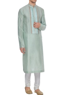 mint-spun-silk-embroidered-placket-kurta