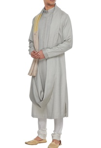 grey-textured-draped-style-kurta-with-yellow-patchwork