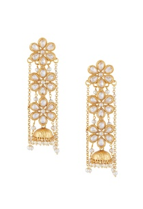 gold-white-alloy-3-uncut-flower-earring-with-chain
