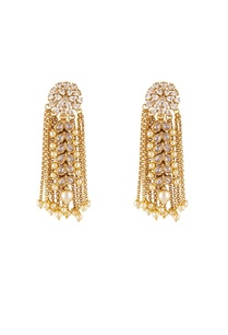 gold-white-alloy-uncut-flower-earring-with-chain