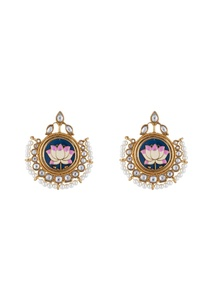 multi-colored-alloy-meena-lotus-studed-earring