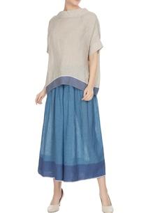 blue-linen-pintuck-flared-culottes