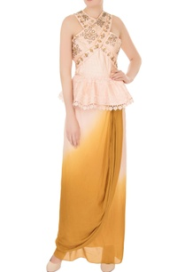peach-yellow-raw-silk-crepe-georgette-wrap-skirt-with-peplum-blouse