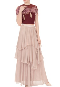 crimson-red-lilac-crepe-georgette-embellished-crop-top-with-layered-skirt
