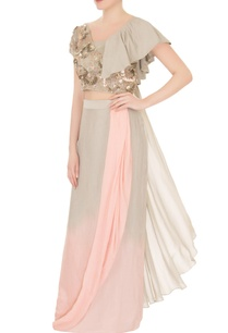 green-pink-crepe-georgette-embellished-pre-draped-sari-with-ruffled-blouse