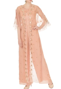 peach-crepe-georgette-organza-high-low-jumpsuit-with-cape