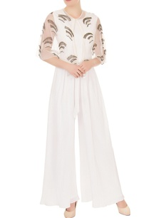 pristine-white-crepe-georgette-organza-high-low-jumpsuit-with-cape