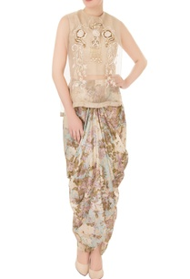 green-ivory-organza-silk-cowl-pants-with-layered-blouse