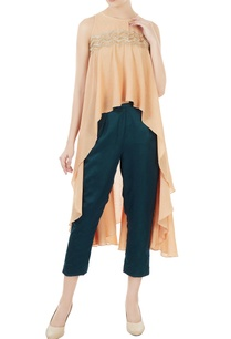 peach-waterfall-cape-blouse-with-satin-pants