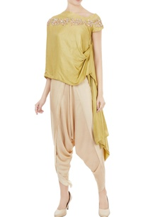 chartreuse-embellished-one-shoulder-tunic-with-dhoti-pants