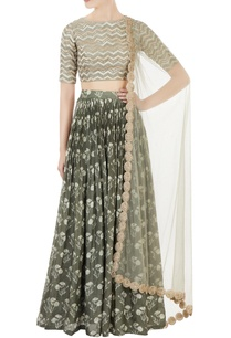 olive-chanderi-lehenga-with-chevron-blouse-cutwork-net-dupatta
