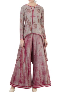 wine-grey-hand-block-printed-jacket-with-crop-top-and-sharara-pants