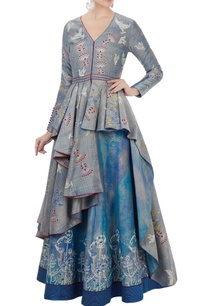 blue-chanderi-hand-block-printed-asymmetric-jacket-with-lehenga