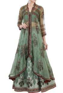 green-organza-hand-block-printed-jacket-set
