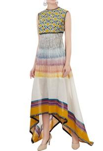 multicolored-sleeveless-chanderi-block-printed-dress