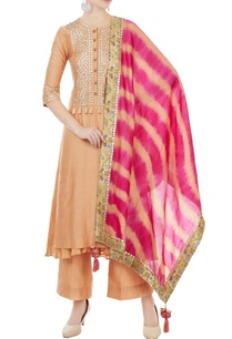 orange-chanderi-gota-embroidered-kurta-with-pants-fuschia-dupatta