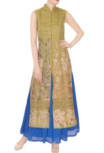 olive-silk-dori-thread-bead-embroidered-jacket-with-blue-satin-skirt