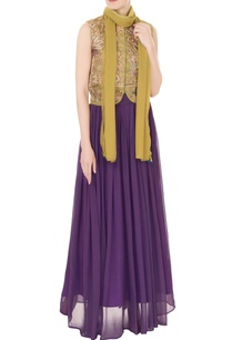 olive-silk-zardozi-zari-embroidered-jacket-with-purple-georgette-skirt-dupatta