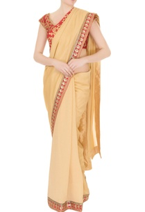 gold-silk-crepe-zari-pearl-work-saree-with-red-blouse