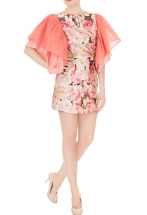 pink-satin-sequin-embroidered-ruffled-short-dress