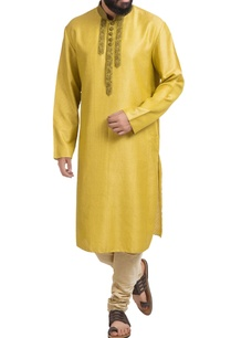 sap-green-muga-dupion-silk-kurta-with-churidar