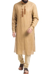beige-linen-paisley-embroidered-kurta-with-churidar