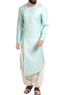 aqua-blue-muga-dupion-silk-kurta-with-patiala-pants